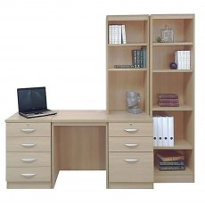 R White Cabinets Set 15 - Desk & Drawer Units with Bookcases