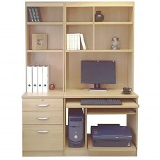 R White Cabinets Set 17 - Computer Work Station & 3 Drawer Unit/Filing Cabinet with Hutch Bookcases