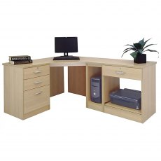 R White Cabinets Set 18 - Corner Desk with Printer, Computer & Drawer Units