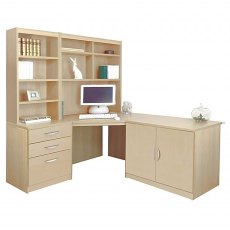 R White Cabinets Set 19 - Corner Desk, Cupboard & Drawer Units with Hutch Bookcases
