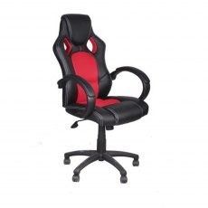 Alphason Office Chairs Daytona Faux Leather Racing Chair - Red Fabric Insert