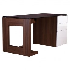 Alphason Desks Sorbonne Walnut Effect Executive Computer Desk