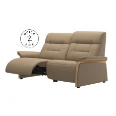 Stressless Quickship Mary 2 Seater With 2 Power Paloma Funghi/Oak Wood