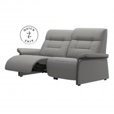 Stressless Quickship Mary 2 Seater With 2 Power Paloma Silver Grey/Grey Wood