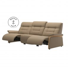 Stressless Quickship Mary 3 Seater With 2 Power Paloma Funghi/Oak Wood