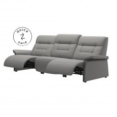Stressless Quickship Mary 3 Seater With 2 Power Paloma Silver Grey/Grey Wood