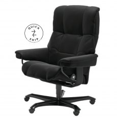 Stressless Quickship Mayfair Medium Office Chair Paloma Black/Black Wood