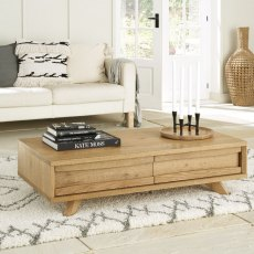 Bentley Designs Cadell Rustic Oak Coffee Table With Drawers