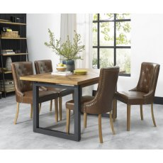 Bentley Designs Indus Rustic Oak 6 - 8 Seater Extending Dining Table