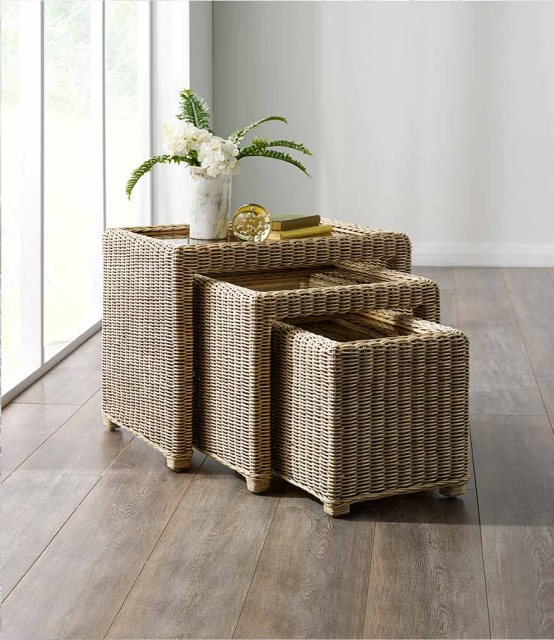 The Cane Industries Accessories Wicker Nest Of 3 Glass Topped