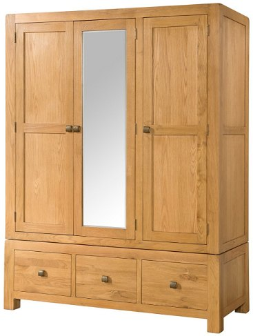 Devonshire Living Devonshire Living: Avon Triple Wardrobe With 3 Drawers And Mirror