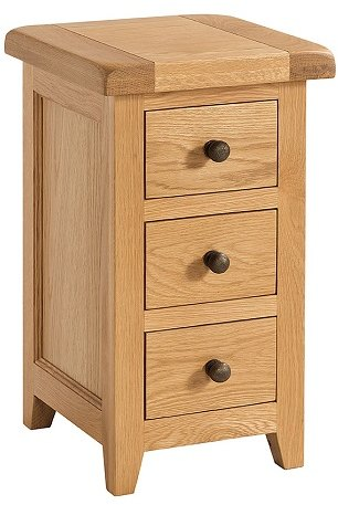 Devonshire Living Devonshire Living: Somerset Oak: Narrow 3 Drawer Bedside