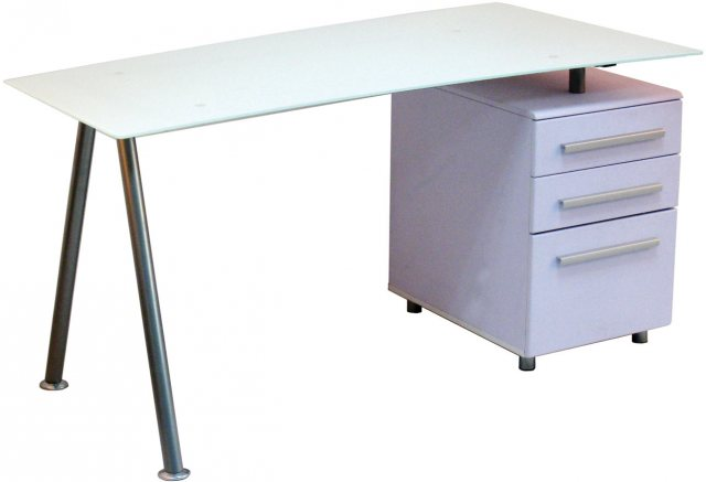 Alphason Alphason Desks Cleveland 3 White Glass Computer Desk