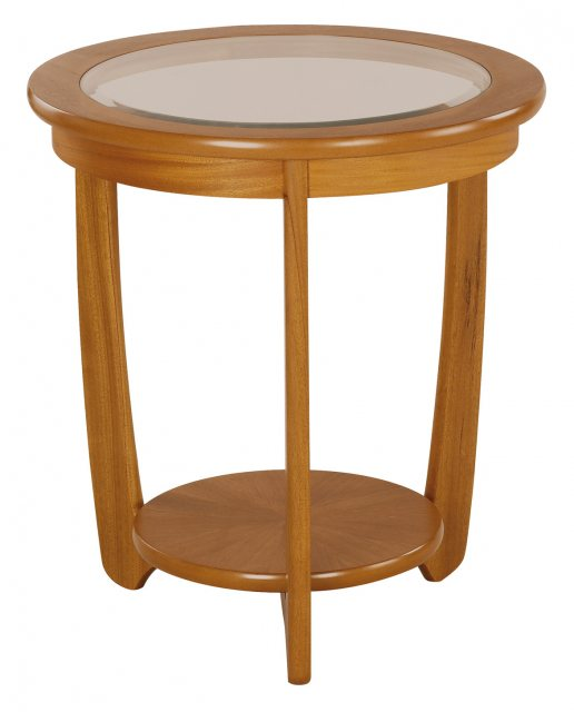 Nathan Classic Teak Glass Top Round Table