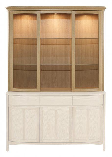Nathan Shades Oak Shaped Glass Door Display Top Unit Cabinets