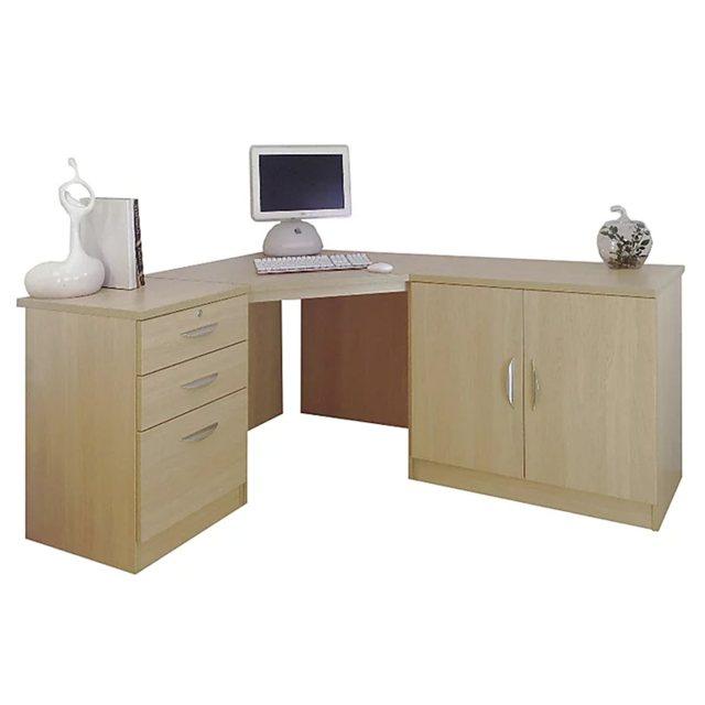 R White Cabinets Set 13 Corner Desk, Office Corner Desk Units