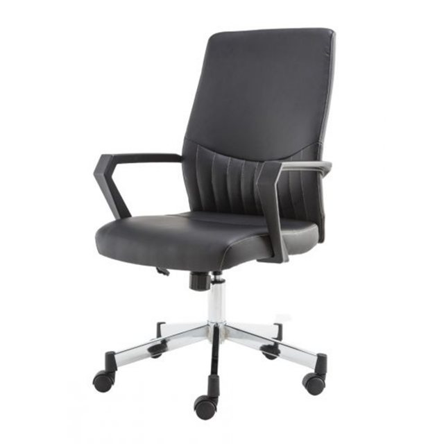 Alphason Alphason Office Chairs Brooklyn Black Designer Faux Leather Low Back Chair