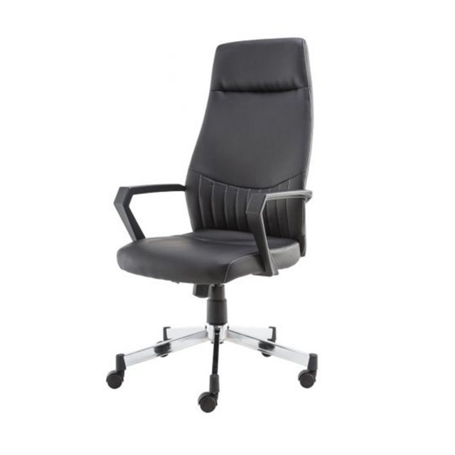 Alphason Alphason Office Chairs Brooklyn Black Designer Faux Leather High Back Chair