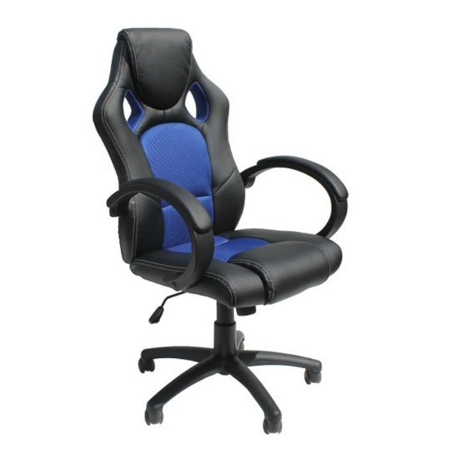 Alphason Alphason Office Chairs Daytona Faux Leather Racing Chair - Blue Fabric Insert